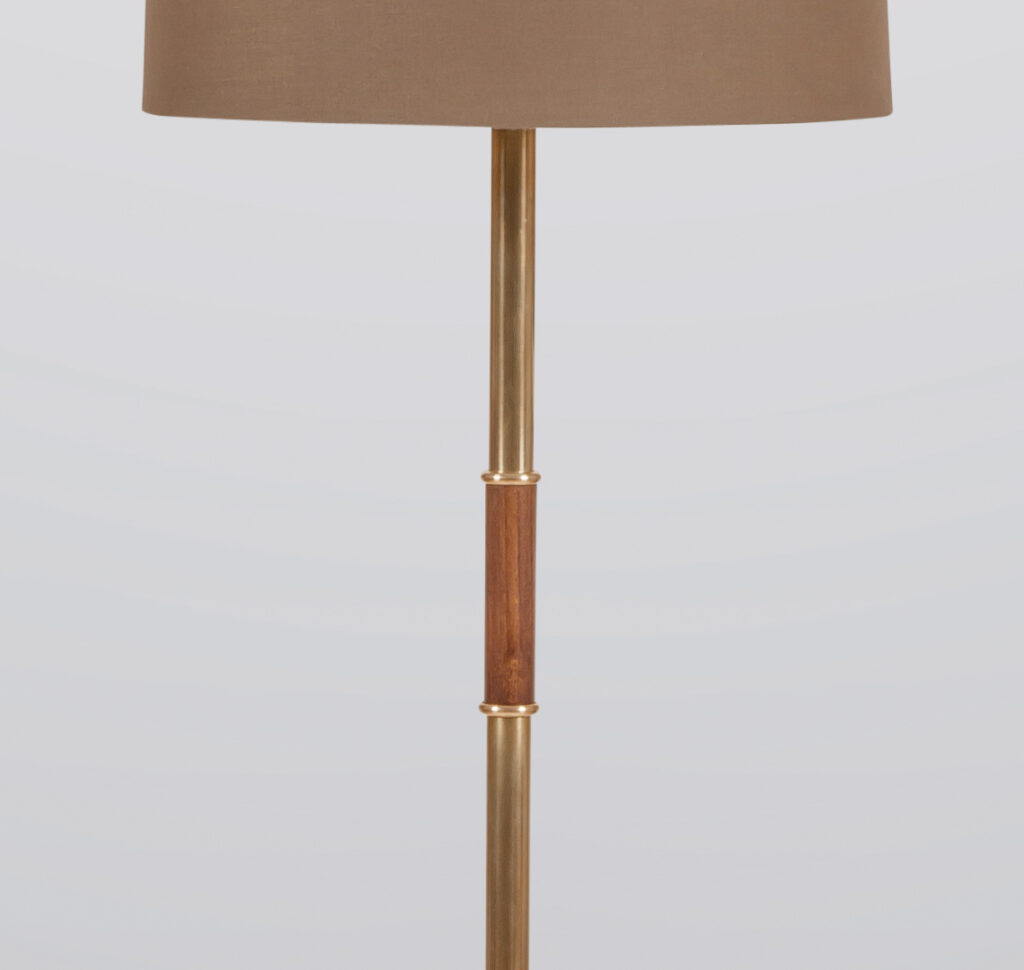 Brass And Beechwood Floor Lamp The Lamp Factory London